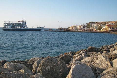 Ferry at the port of Paleochora