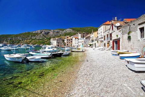 Croatian harbor of a small fishing village
