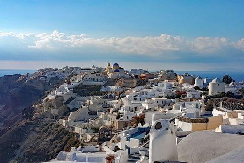 Breathtaking panoramic view in Santorini
