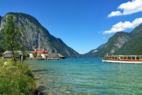 Boat trip at the Koenigssee to St. Bartholomae