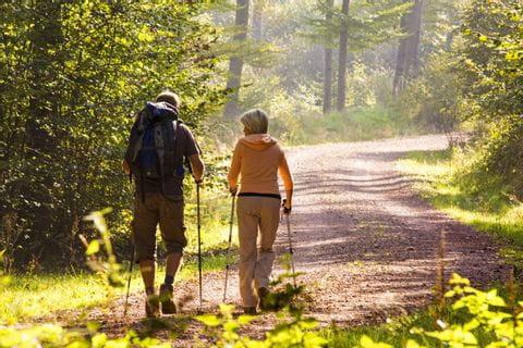 Wanderer am Waldpfad des Rennsteigs