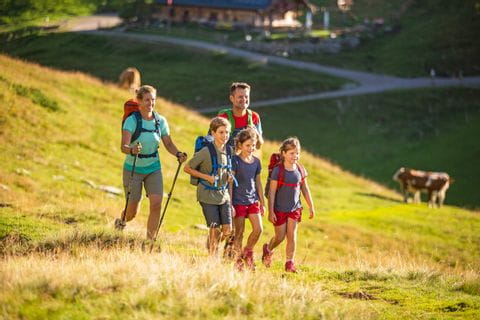 Hiking family on a mountain pasture in the Salzkammergut