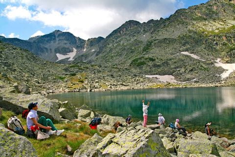 Panoramic view at the glacial lake