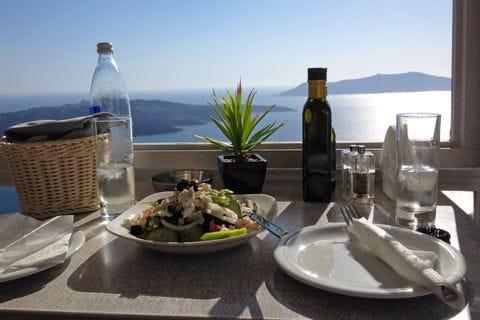 Greek cuisine on Santorini