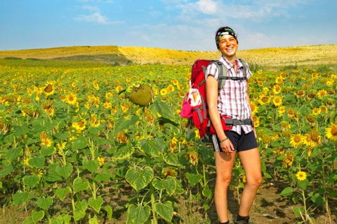 Hiker and blooming fields and panoramic views along the hiking trails