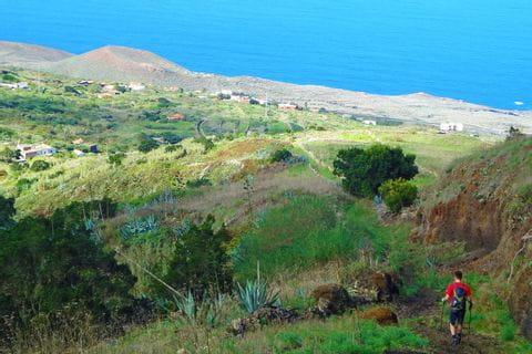 Hiking trail towards the sea on El Hierro