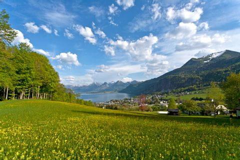 Stunning panoramic view high above lake Wolfgangsee