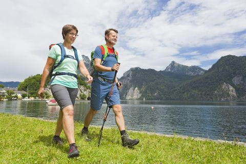 Hikers in Traunkirchen at Lake Traunsee