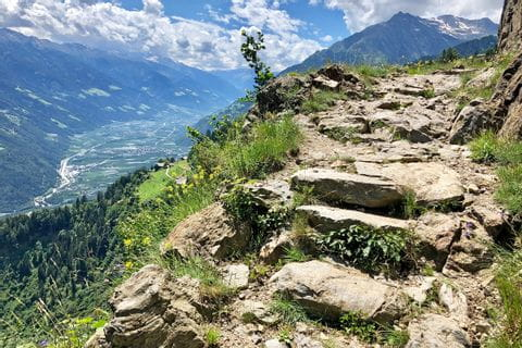 Panoramic view along the hiking trail in the region of Merano