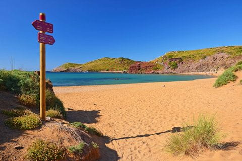 Signpost at the beach of Menorca