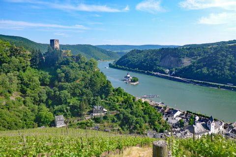 Wanderreise Rheinsteig mit Blick auf Burg Gutenfels