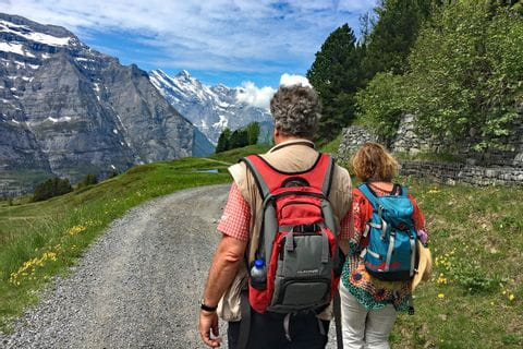 Hiking with view to the Jungfrau