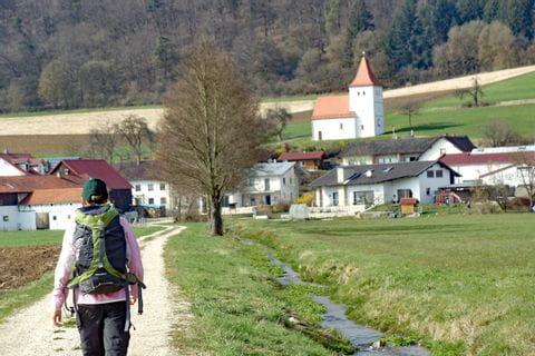 Wanderer unterwegs am Altmühltal Panoramaweg