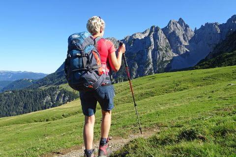 Hiker with view of Gosaukamm mountain range
