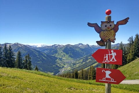 Panoramic view while hiking on family adventure trail at Saalbach-Hinterglemm