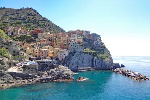 View to the painted houses of Manarola