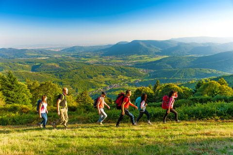 Walking with nice views of the landscape in Alsace