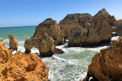 Rock formation on the rocky coast of the Algarve