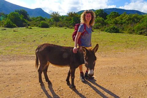 Wanderin mit Esel am Wanderweg nach Golgo