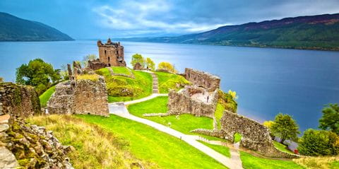 Ruins of Uquhart Castle on the hiking trail