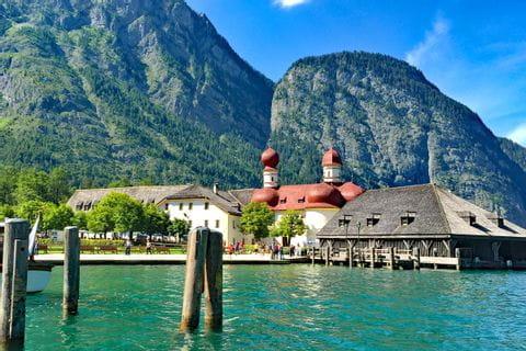 Lake Koenigssee and church St. Bartholomae