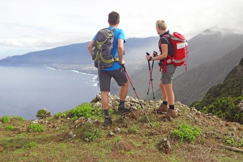 Hikers overlooking the El Hierro coast