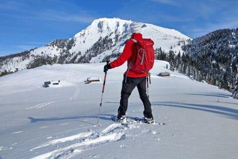 Wanderer im Winter mit Blick auf die verschneiten Gipfel