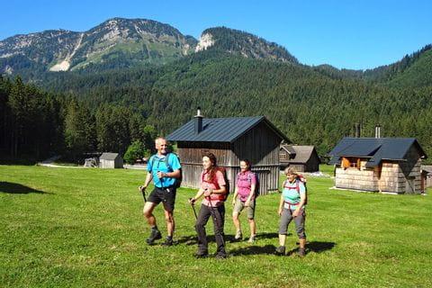 Individual hiking in the Ausseerland region at Blaa alp