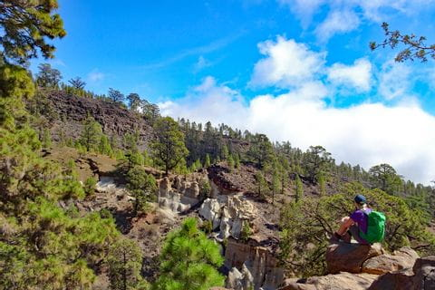 Hiker with stunning scenery at the moonscape close to Vilaflor