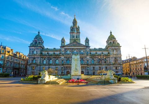 Panoramic view on the George Square in Glasgow