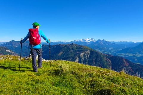 Hiker with panoramic view of the Osterhorn Group