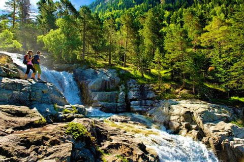 Panoramic view on the landscape of the Pyrenees waterfall in the national park Aiguestortesn