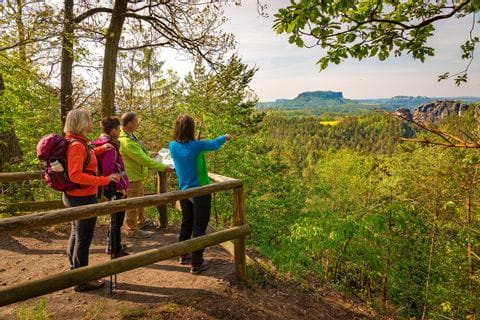Wanderer mit Ausblick auf das Elbsandsteingebirge am Malerweg