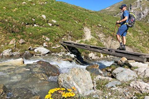 Walter wandert über einen Bergbach