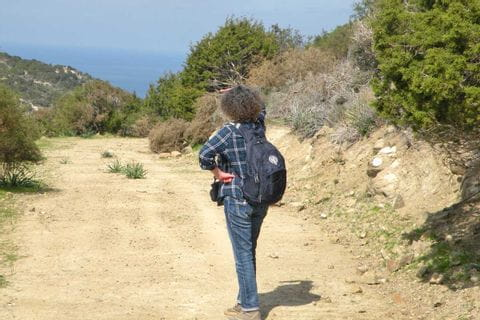 Hiker enjoys the countryside