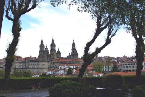 Beautiful hiking view to city Santiago de Compostela