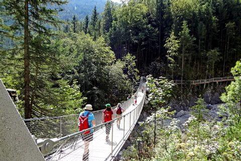 Rope bridge in the Chiemgauer Alps