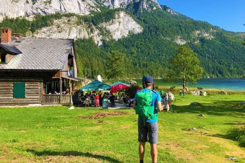 Hiker at the Gasthaus am Altauseer See