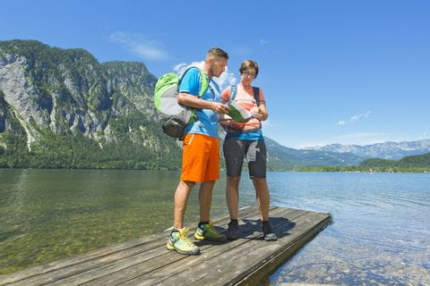 Hiking couple at Lake Traunsee