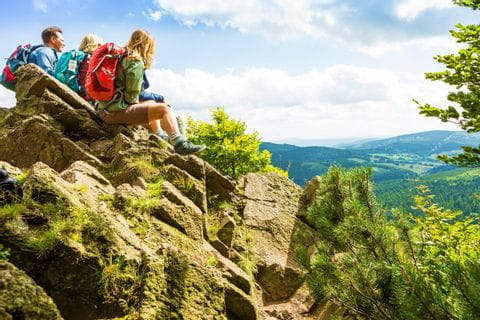 Hikers with a view on the Rennsteig