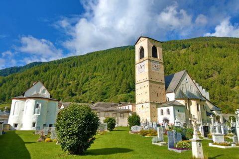 View of the Swiss UNESCO World Heritage Site Münstair Monastery