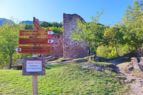Signpost at the Hocheppan castle ruins