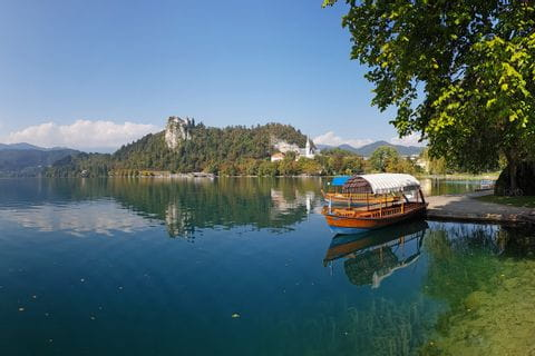Pletna boat on the Bleder Lake in Slovenia