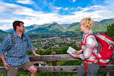 Stunning panoramic view while mountain hiking close to Merano