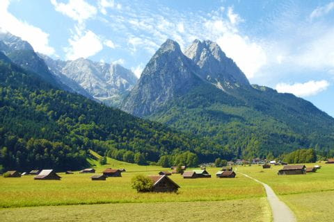 Alpine landscape with view of the hiking paths and the Zugspitze