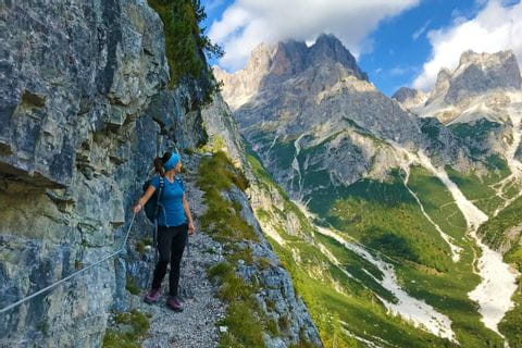 Hiker on the hiking path in Vinschgau
