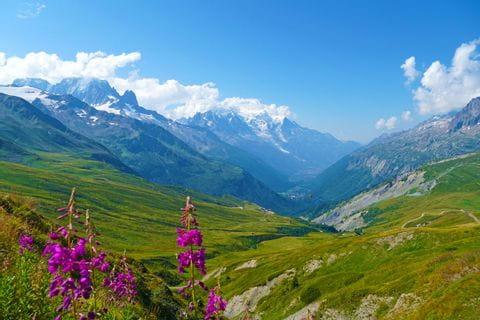 Hiking panorama at the Tour du Mont Blanc