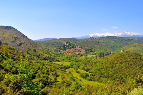 Panoramic view over the landscape of the Pyrenees