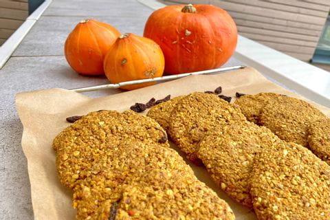 Baking pumpkin cookies in autumn