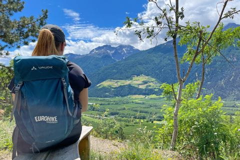 Hiker with a view of the Adige Valley and Schlanders<br/>